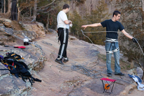 Rappelling on the rocks