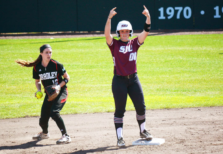 SIU+then-freshman+Sydney+Jones+celebrates+her+stand-up+double+against+Bradley+University+at+Charlotte+West+Stadium.%C2%A0