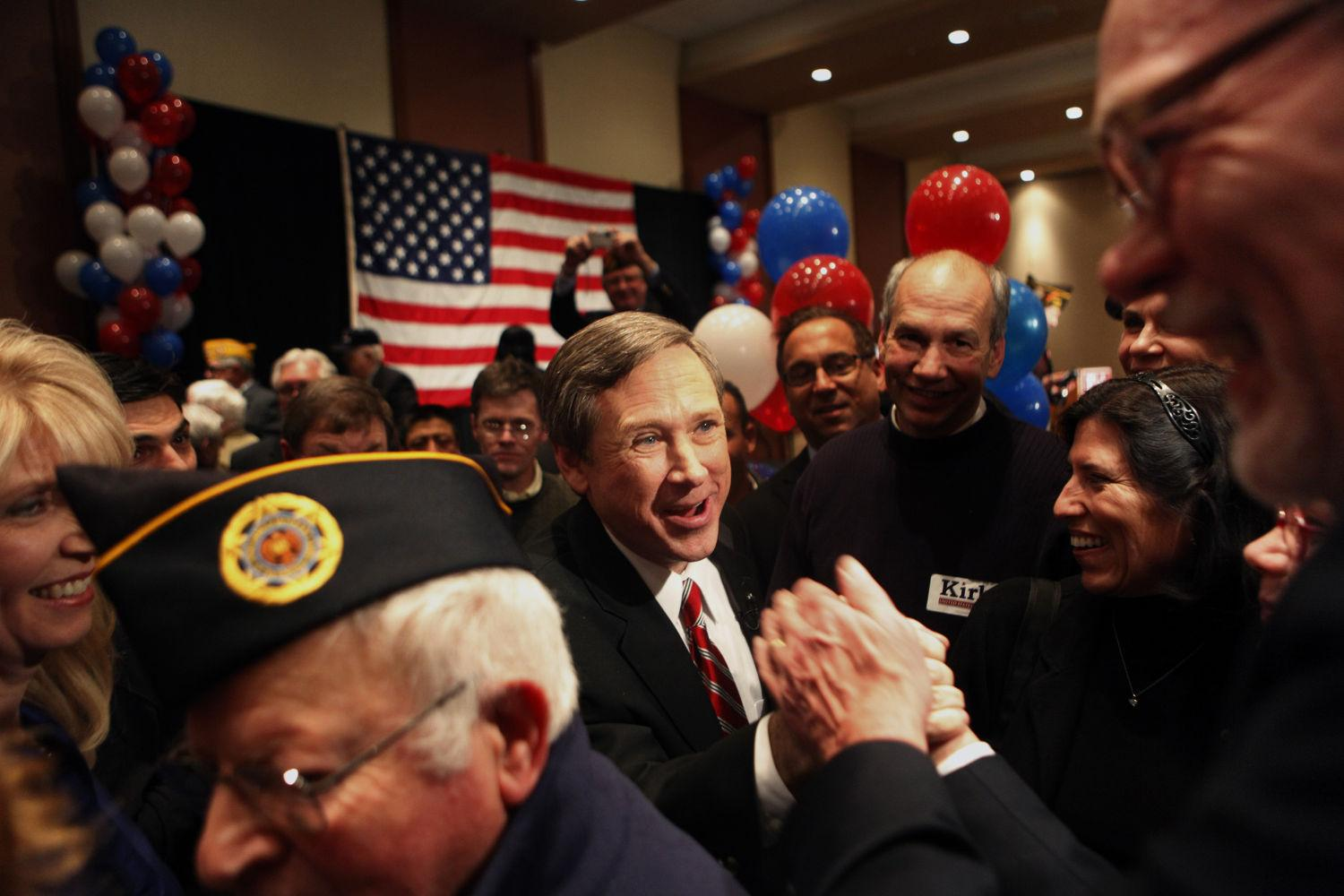 U.S. Rep. Mark Kirk (R-Ill.) is congratulated after winning the Republican primary for Illinois's U.S. Senate seat on Feb. 2, 2010, in Wheeling. (Lane Christiansen/Chicago Tribune/MCT)