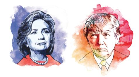 Illustrations of Hillary Clinton and Donald Trump. (TNS)