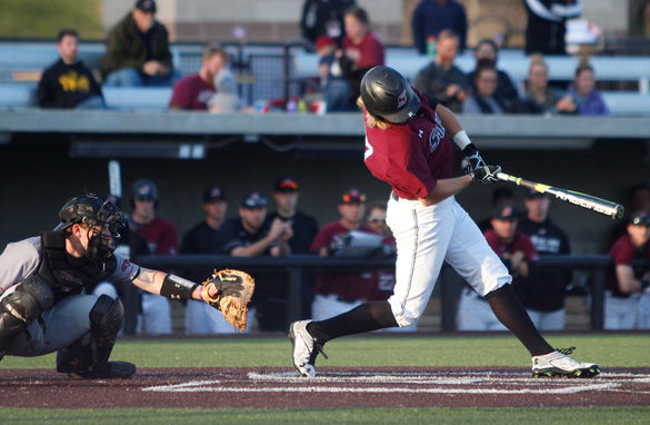 SIU sophomore left fielder Greg Lambert laces an RBI double to left field March 29 at Itchy Jones Stadium. Lambert was 3-4 with three RBIs and two runs scored in a 16-10 loss to Austin Peay. - March 29, 2016, Carbondale, Ill.
