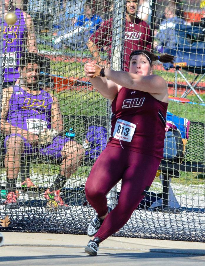 Then-senior+thrower+DeAnna+Price+throws+the+hammer+throw+March+26+at+the+Bill+Cornell+Spring+Classic.+%28DailyEgyptian.com+file+photo%29
