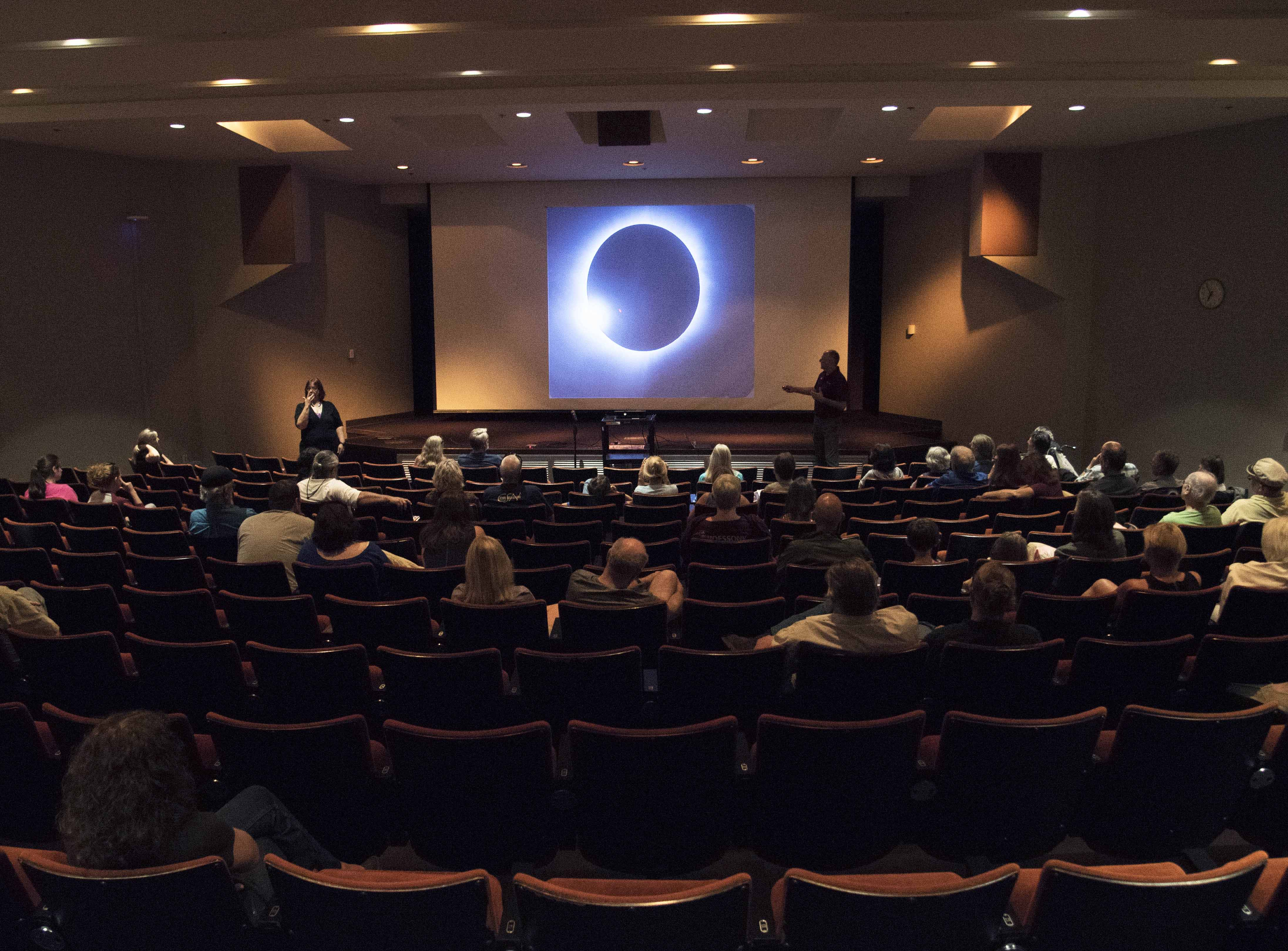 Bob Baer, co-chairman of the Solar Eclipse Steering Committee for SIU, displays a total solar eclipse during his presentation Sunday, Aug. 21, 2016, at the Eclipse 2017: One Year Countdown event in the Student Center Auditorium. (Morgan Timms | @morgan_timms)