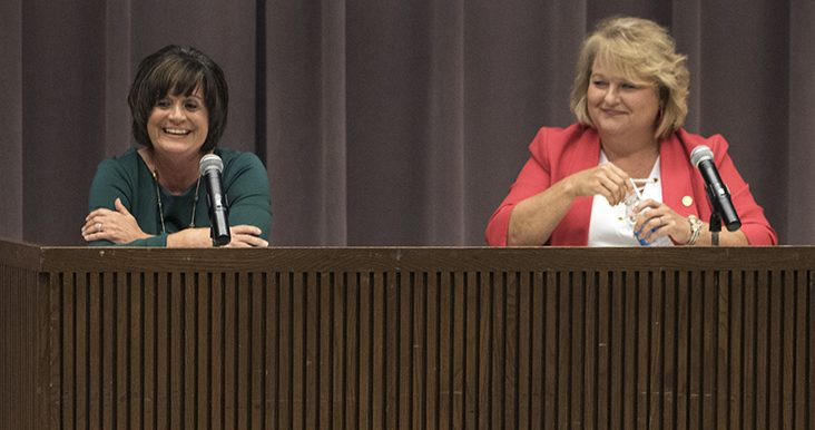 Democratic challenger Marsha Griffin, of Jonesboro, left, and Republican Rep. Terri Bryant, of Murphysboro, react to applause after their closing statements Thursday, Sept. 22, 2016, during a candidate forum hosted by the State Universities Annuitants Association in the Lesar Law Building Auditorium. (Morgan Timms | @Morgan_Timms)