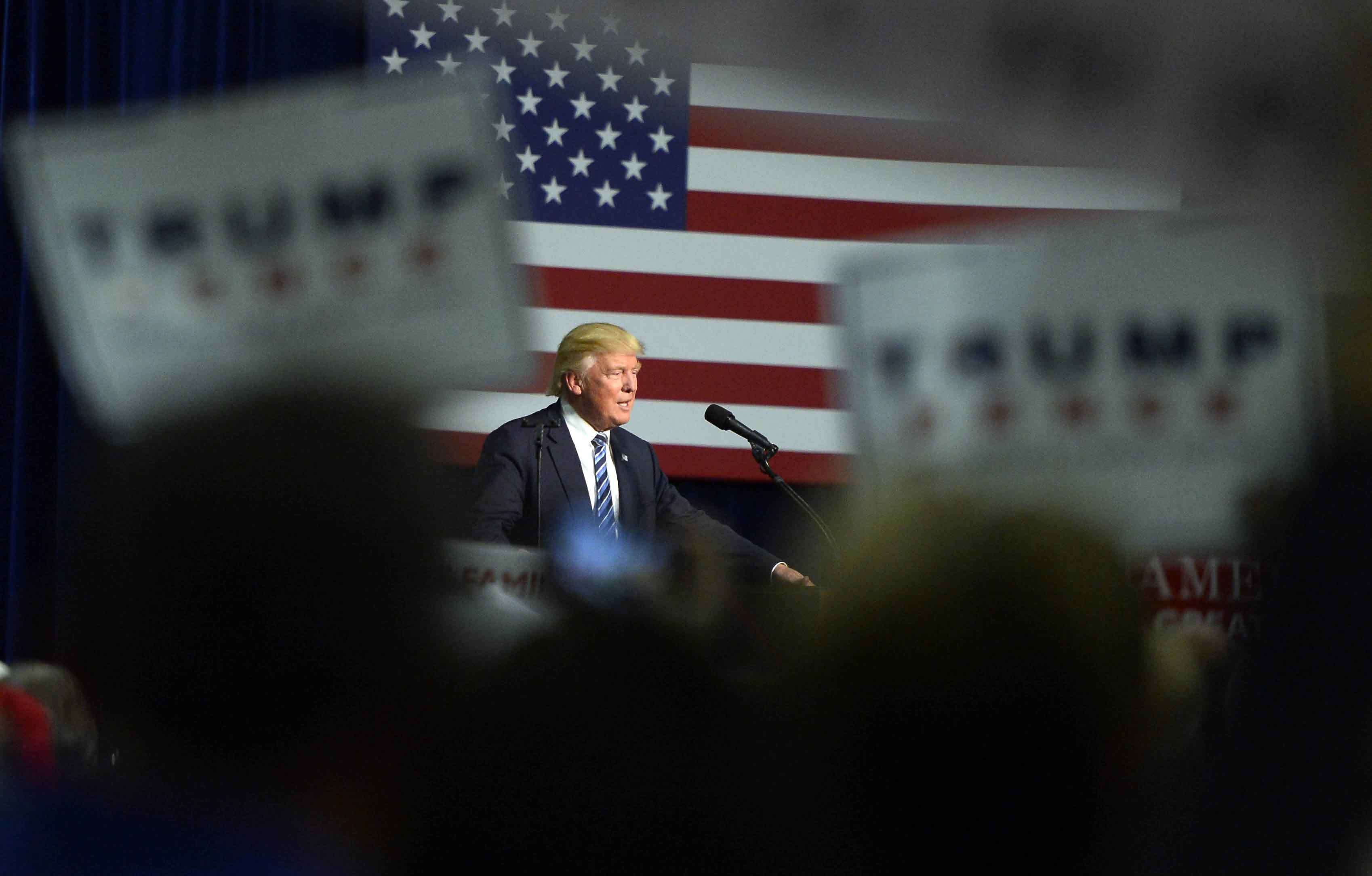 Republican presidential candidate Donald Trump speaks at a campaign rally at the Charlotte Convention Center in Charlotte, N.C., on Friday, Oct. 14, 2016. (David T. Foster III/Charlotte Observer/TNS)