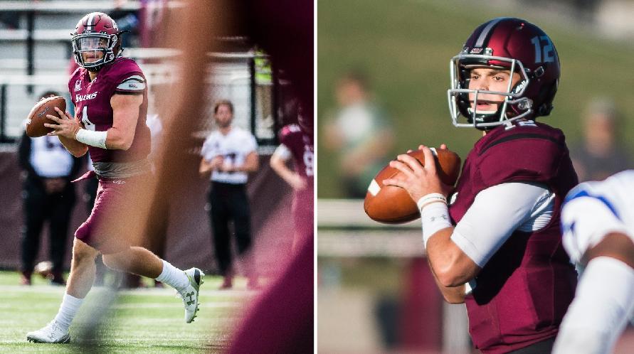 Sophomore quarterback Sam Straub, left, and senior quarterback Josh Straughan. (Photos by Ryan Michalesko | @photosbylesko)