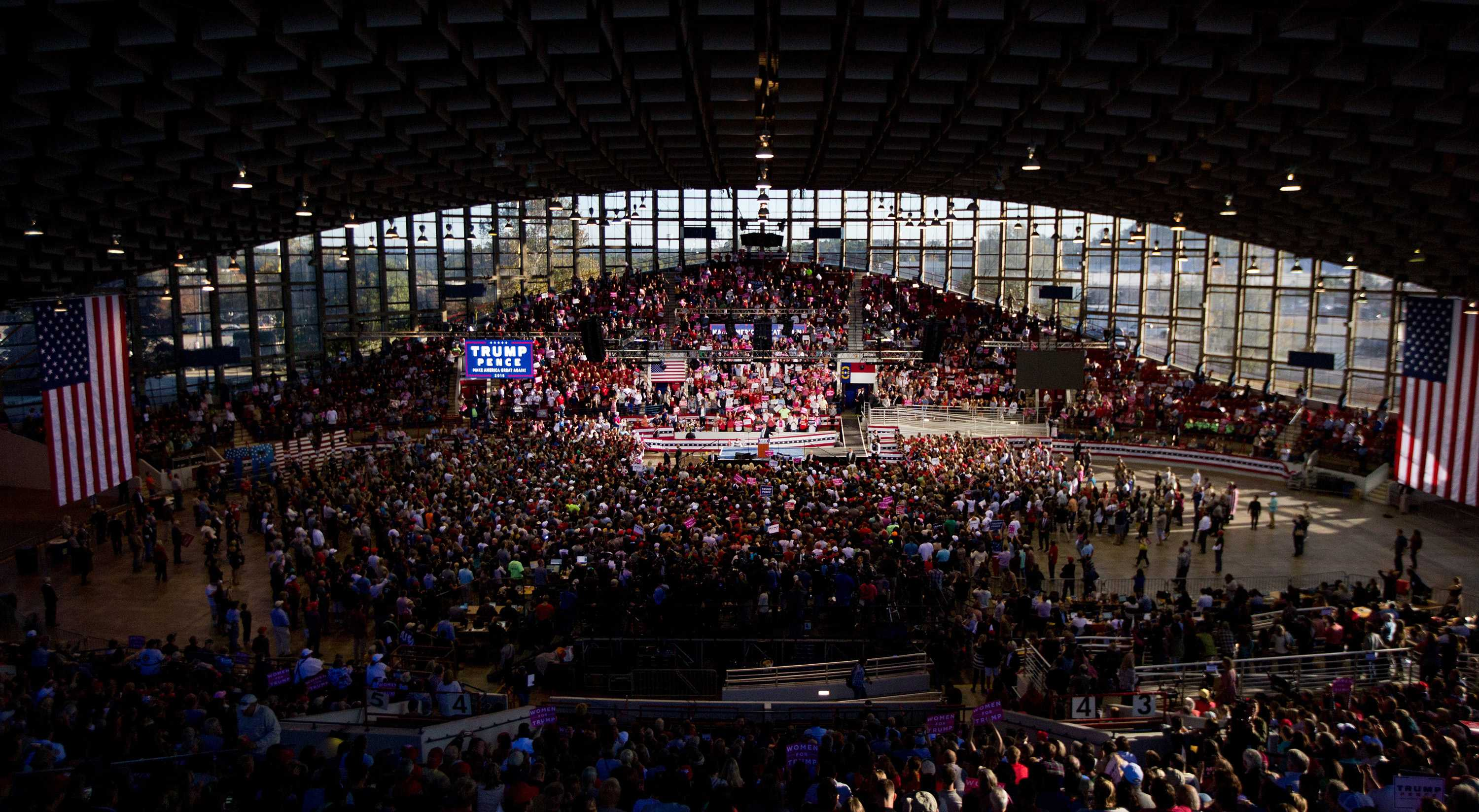 Then-Republican nominee for President Donald Trump campaigns at Dorton Arena Monday, Nov. 7, 2016 in Raleigh N.C. It's the final day before Election Day. (Jill Knight/Raleigh News & Observer/TNS)