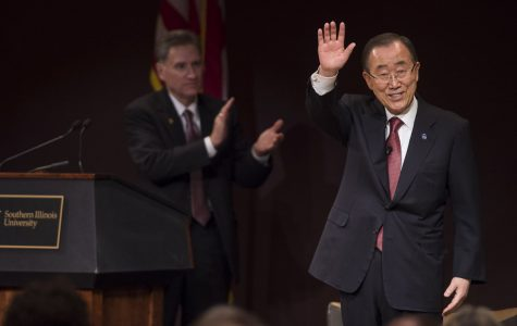 UN secretary-general speaks of climate change, Syrian conflict during campus visit