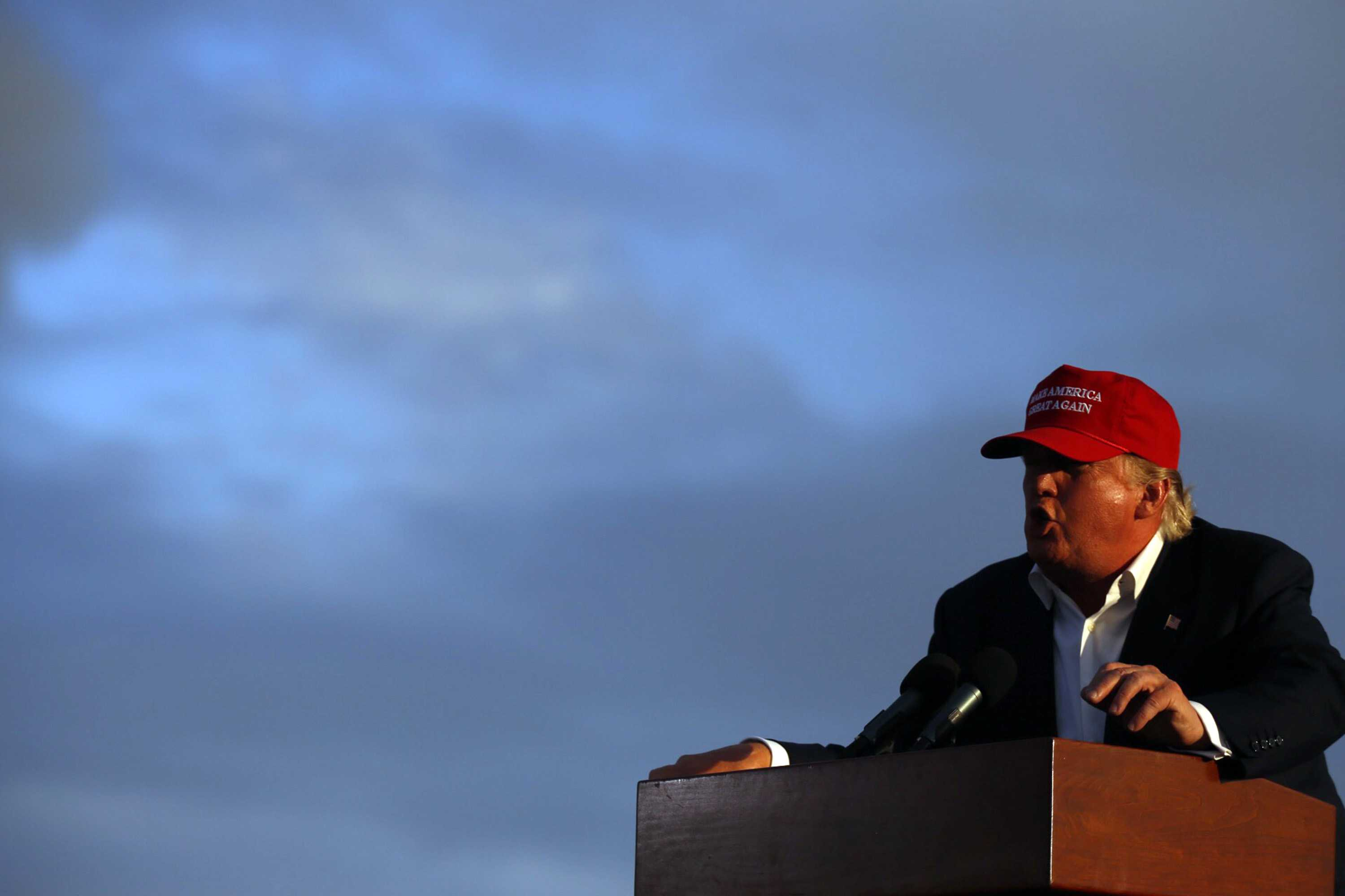 Donald Trump makes a campaign stop aboard the USS Iowa battleship in Los Angeles on Tuesday, Sept. 15, 2015. (Francine Orr/Los Angeles Times/TNS)