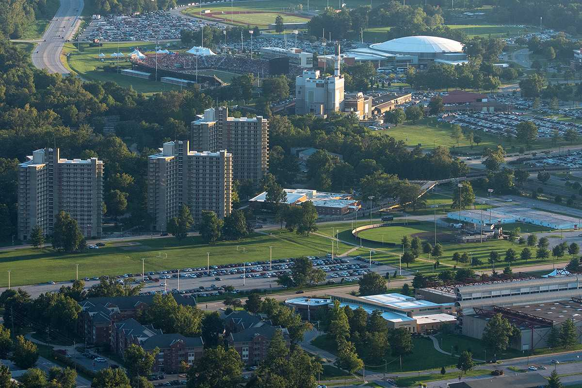 SIU's Carbondale campus can be seen from above Sept. 17, 2016. (Luke Nozicka | @lukenozicka)