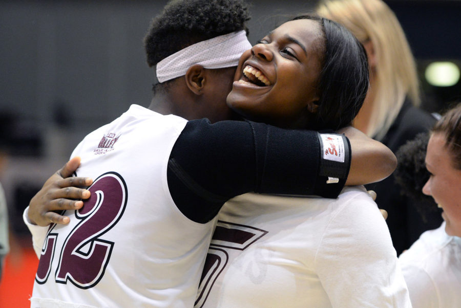 Freshman+guard%2Fforward+Tiajaney+Hawkins+hugs+senior+forward+Kim+Nebo+on+Sunday%2C+Feb.+26%2C+2017%2C+after+SIU%E2%80%99s+69-63+win+over+Bradley+at+SIU+Arena.+Nebo%2C+who+was+recognized+as+one+of+the+team%27s+senior+players+after+the+game%2C+scored+14+points+and+grabbed+10+rebounds+in+her+last+home+game.+%28Luke+Nozicka+%7C+%40lukenozicka%29