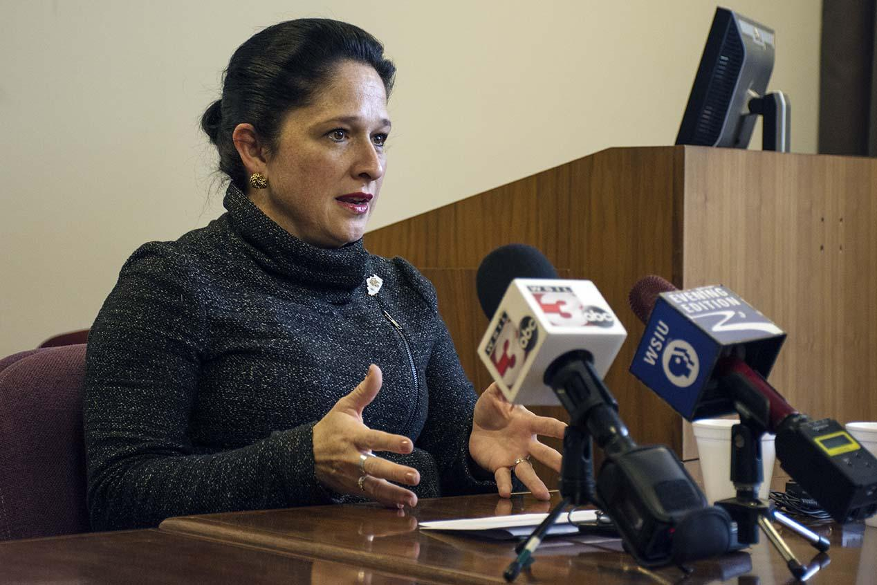 Illinois comptroller Susana Mendoza talks to faculty and members of the Carbondale community regarding concerns about healthcare and the state budget impasse Thursday, Feb. 9, 2017, at SIU's Communications Building. (Athena Chrysanthou | @Chrysant1Athena)