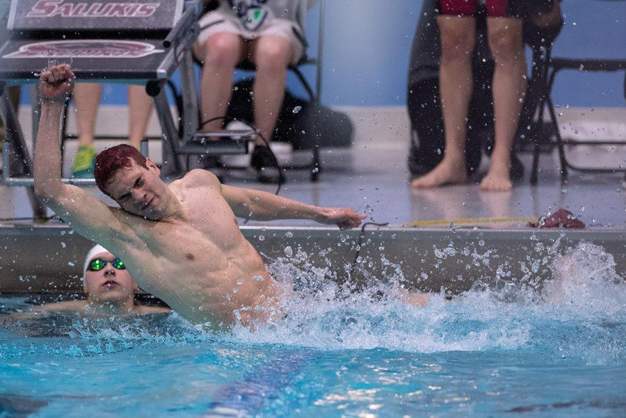 Saluki+senior+Filippo+Dell%E2%80%99Olio+celebrates+after+realizing+that+he+took+first+place+in+the+200-yard+butterfly+on+day+four+of+the+2017+Mid-American+Conference+Men%E2%80%99s+Swimming+%26+Diving+Championship+on+Saturday%2C+March+4%2C+2017%2C+at+Edward+J.+Shea+Natatorium.+Dell%E2%80%99Olio+completed+the+race+with+a+final+time+of+1%3A45.55.+%28Jacob+Wiegand+%7C+%40jawiegandphoto%29%0A