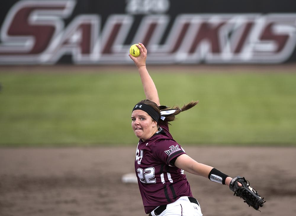 Sophomore pitcher Brianna Jones pitches Wednesday, March 29, 2017, during the Salukis' 4-0 loss to SIUE at Charlotte West Stadium. (Morgan Timms | @Morgan_Timms)