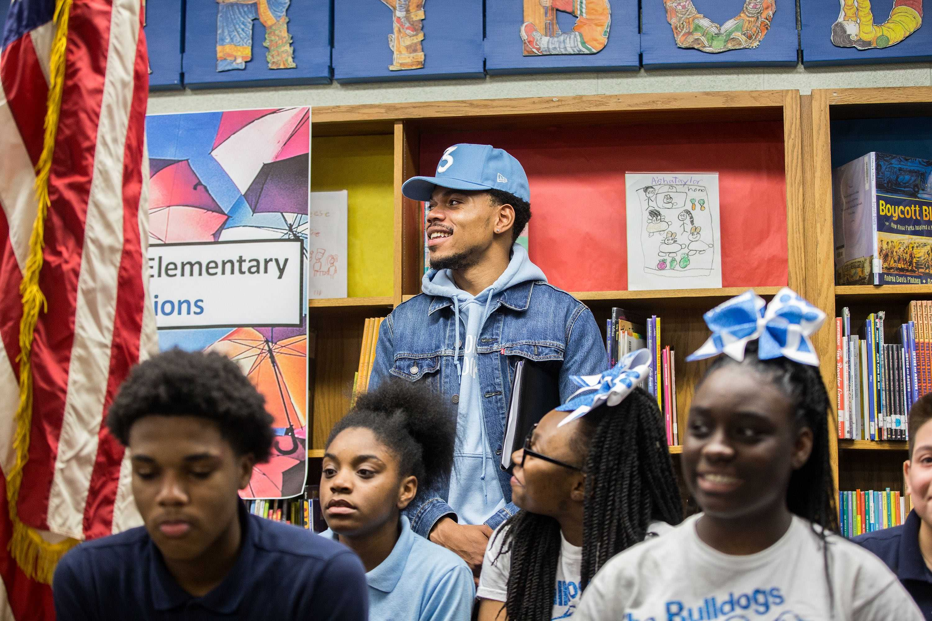 Chance the Rapper holds a press conference at Westcott Elementary School in Chicago's Chatham neighborhood on March 6, 2017. (Zbigniew Bzdak | Chicago Tribune | TNS)