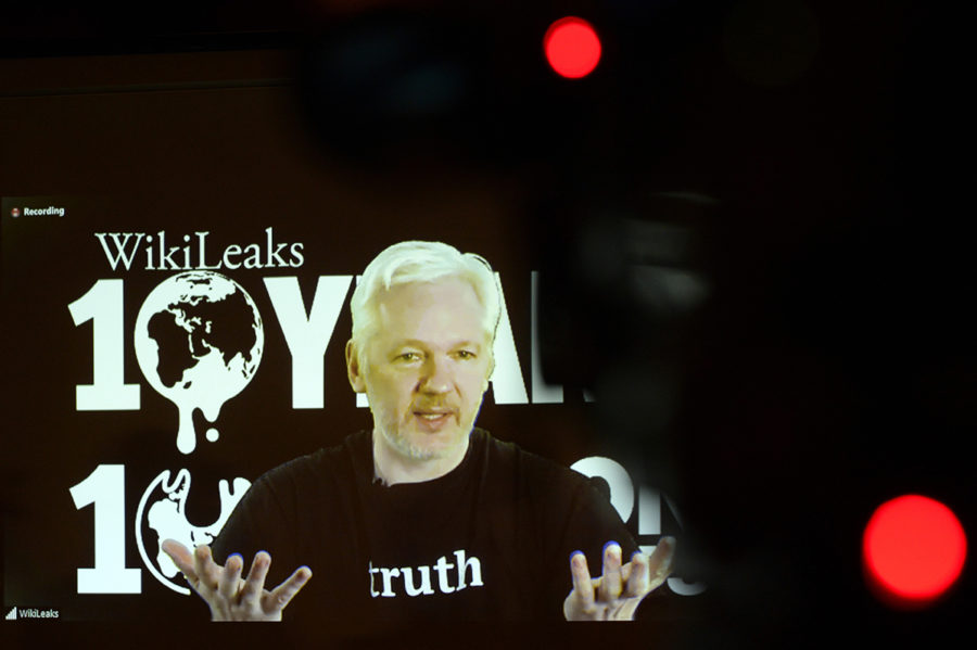 WikiLeaks+founder+Julian+Assange+speaks+via+video+link%2C+during+WikiLeaks%27s%3B+10th+anniversary+news+conference+on+October+4%2C+2016%2C+in+Berlin.+%28Maurizio+Gambarini%2FDPA%2FZuma+Press%2FTNS%29