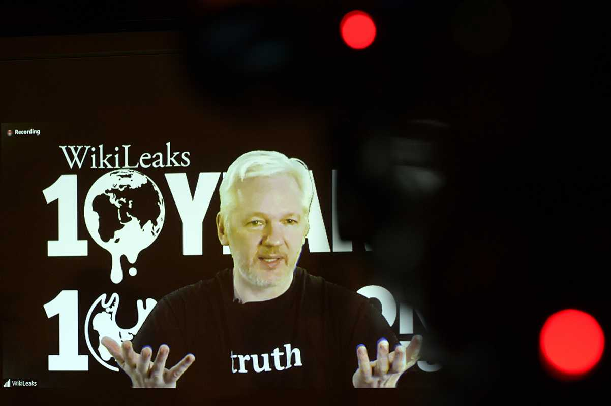 WikiLeaks founder Julian Assange speaks via video link, during WikiLeaks's; 10th anniversary news conference on October 4, 2016, in Berlin. (Maurizio Gambarini/DPA/Zuma Press/TNS)