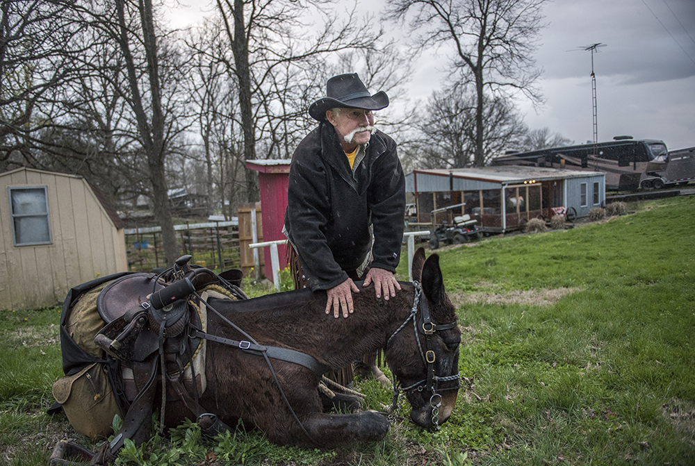 Rich Cooper, of Salem, rests his hands on the neck of his mule, DC, after instructing him to lie down Wednesday, April 5, 2017, during the second annual McAllister and Friends Mule Ride at High Knob Campground in the Shawnee National Forest. (Morgan Timms | @Morgan_Timms)