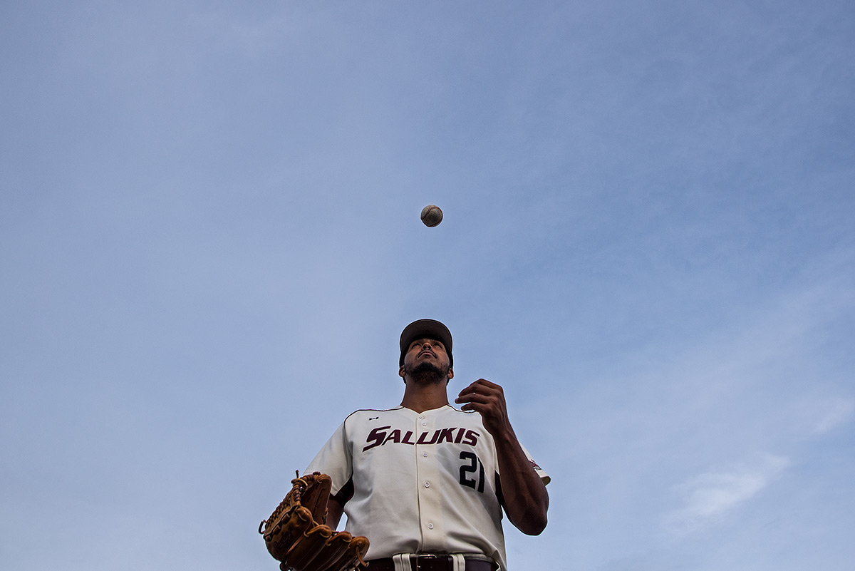 Senior pitcher Joey Marciano poses for a portrait Monday, April 17, 2017, at Itchy Jones Stadium. The Chicago native who studies radio, television and digital media played baseball at John A. Logan College in Carterville before joining the Salukis. (Jacob Wiegand | @jawiegandphoto)