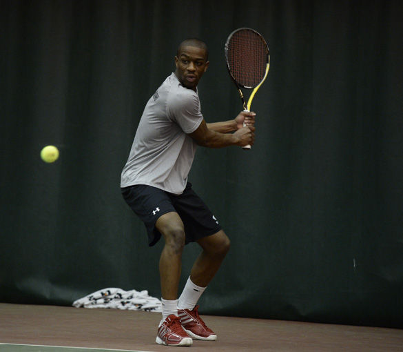 Freshman tennis player Jeremy Dixon competes in his first career match against Chicago State University Saturday at the Garden Grove Event Center in Carbondale. Dixon lost his first career match to Rashley Yeremia Saturday 6-1, 3-6, 119. SIU will face off against Eastern Illinois State University Saturday in Carbondale.ROBERT OLSON • FOR THE DAILY EGYPTIAN
