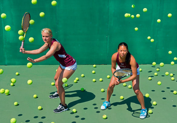 Korey Love, left, and Anita Lee have been doubles partners for two seasons with a record of 31-13. Leewas named the Missouri Valley Conference Tennis Athlete of the Week Tuesday. She has won the titlethree times during her career. Love was named Missouri Valley Conference Scholar-Athlete last season.REMY ABROUGHT • DAILY EGYPTIAN