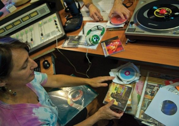 Genie Schropp, also known as Vinyl Vixen, of Makanda, runs the afternoon show 'Independent Worm Hole' Tuesday on WDBX-FM 91.1. Schropp has been with the station for nine years after a hiatus from her college broadcasting career.