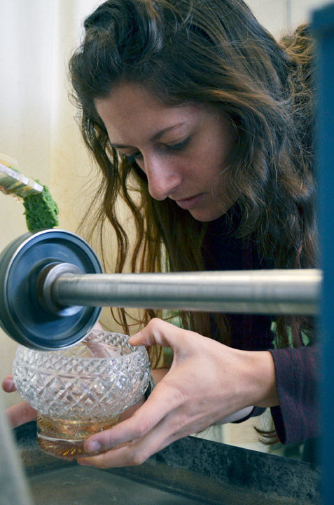 Glass blowing hitter showcases artistic talents