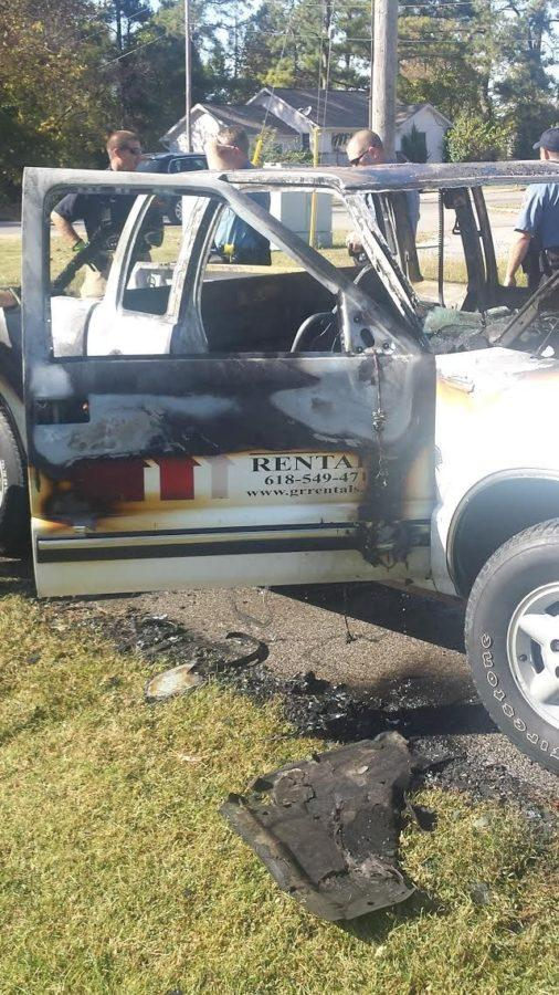 Vehicle catches flames near The Reserves