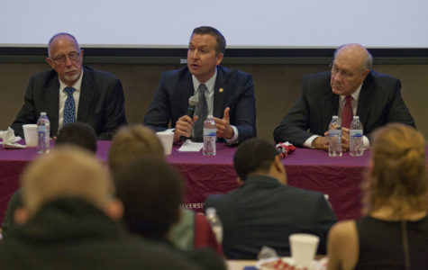 Left to right: Illinois State Senators Gary Forby, Democrat, Andy Manar, Democrat, and Dave Luechtefeld, Republican, speak about the state's budget in relation to higher education to a crowd of about 60 people during Tuesday night's town hall meeting in the Student Health Services auditorium.