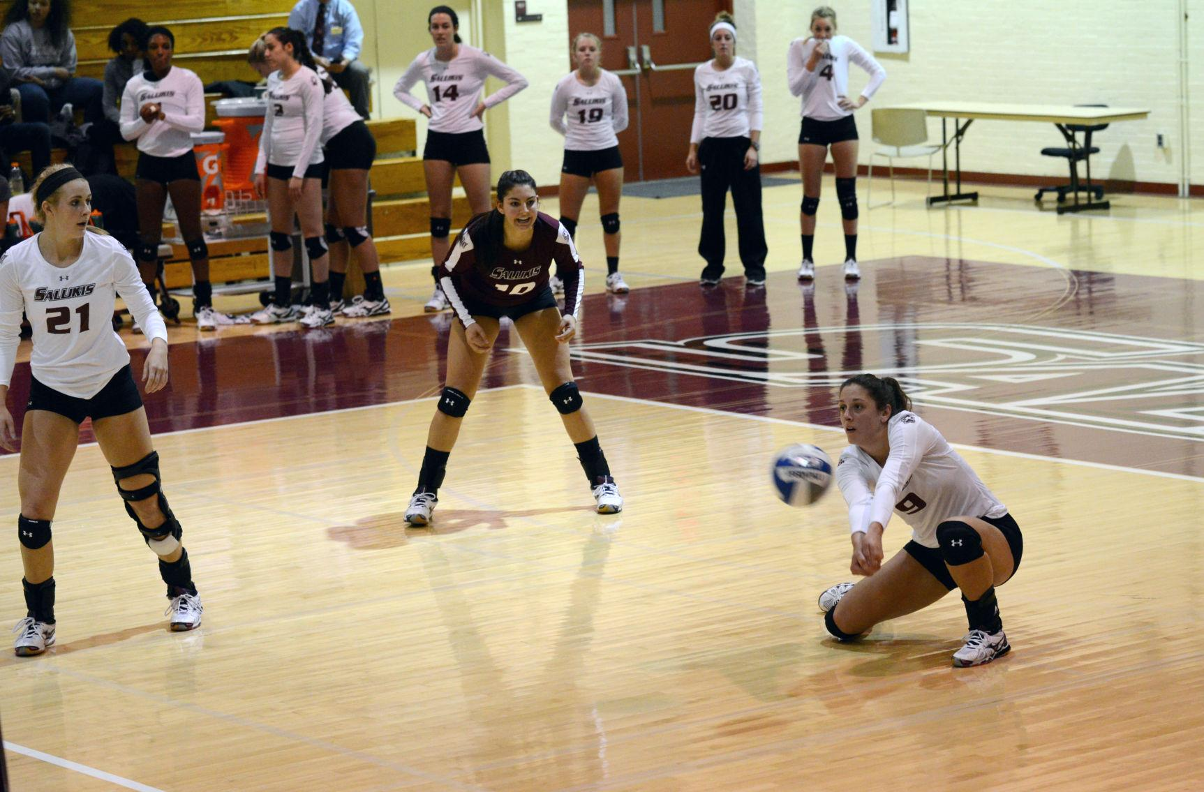 Andrea Estrada, an outside hitter, digs the ball during a match against Illinois State on Nov. 13 in Davies Gym. (DailyEgyptian.com file photo)