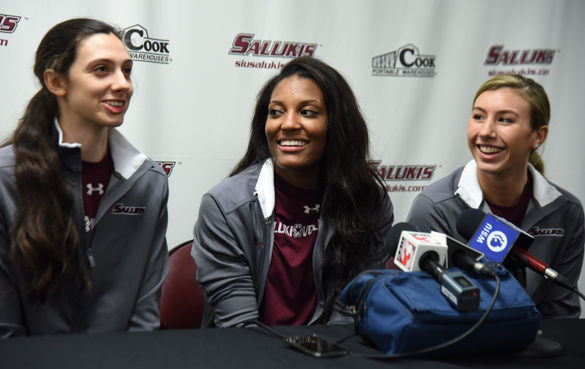 Left to right: Junior setter/hitter Meg Viggars, senior middle hitter Taylor Pippen and junior setter Hannah Kaminsky speak at a December press conference after SIUs volleyball team had been selected to play in the NCAA Tournament. (DailyEgyptian.com file photo)