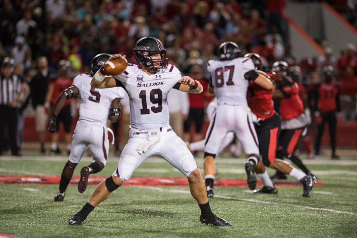Senior quarterback Mark Iannotti throws a pass during the Salukis 27-24 loss to Southeast Missouri State on Saturday. Of 38 attempts, Iannotti completed 26 passes and threw three interceptions.