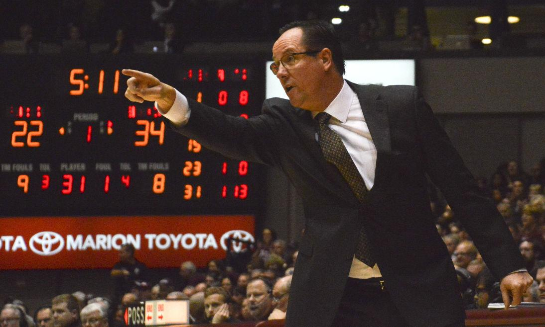 Wichita State coach Gregg Marshall yells to his players on Saturday, January 9 during SIU's loss to the Shockers.