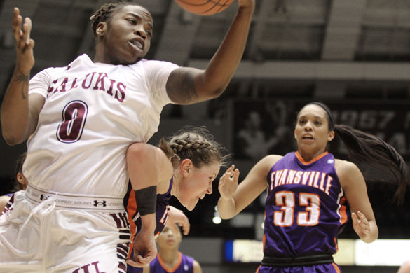 Senior forward/center Dyana Pierre grabs the ball during SIU's 74-56 win against Evansville on Jan. 16 at SIU Arena.