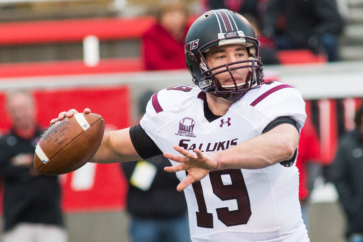 Senior quarterback Mark Iannotti makes a pass during the Salukis game against the Illinois State Redbirds on Nov. 22, 2014 at Hancock Stadium in Normal.