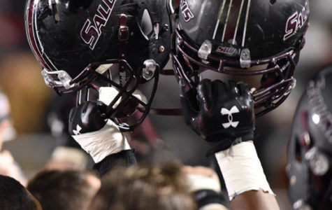 Saluki football players celebrate on the sidelines after their 38-31 overtime victory against Youngstown State University at the homecoming game Oct. 24, 2015, at Saluki Stadium. (Daily Egyptian file photo)