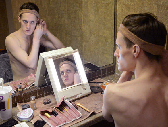 Jacob Hays, who performs as Veronica J. Belle, gets ready for a drag show held by the Saluki Rainbow Networkon Feb. 27in the Student Center. Hays has been performing in drag for seven years. (Luke Nozicka | @LukeNozicka)