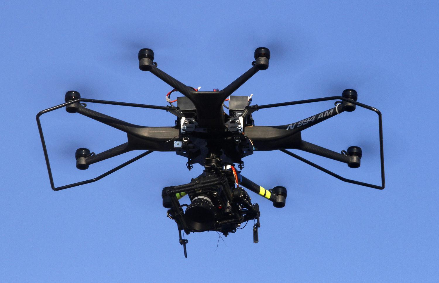 An Aerial MOB drone is used to shoot a scene on the set of
