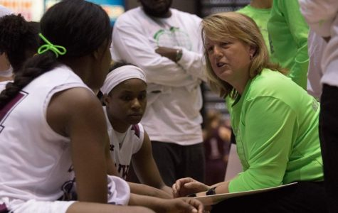 Head coach Cindy Stein talks to the team during SIU's 69-61 win against Missouri State on Feb. 21 at SIU Arena.
