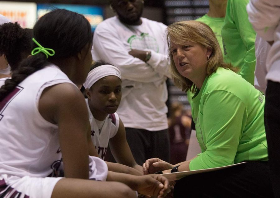 Head+coach+Cindy+Stein+talks+to+the+team+during+SIU%27s+69-61%C2%A0win+against+Missouri+State+on+Feb.+21+at+SIU+Arena.
