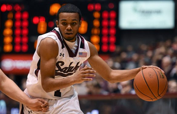 Saluki guard Mike Rodriguez dribbles toward the basket during SIU's 78-68 victory against Missouri State on Feb. 27, 2016, at SIU Arena. (Jacob Wiegand | @JacobWiegand_DE)
