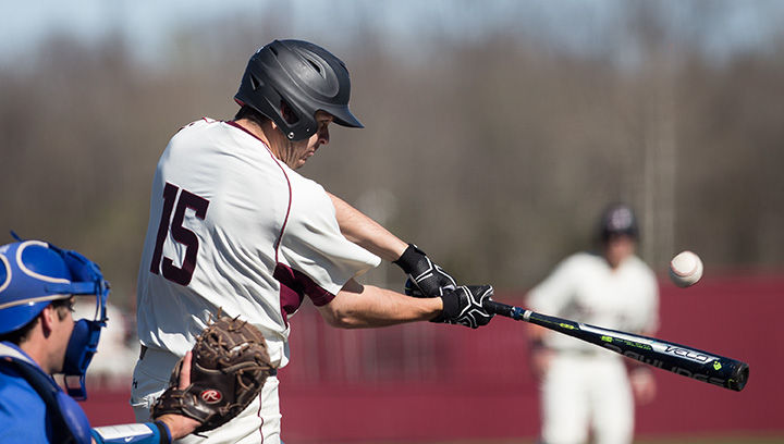 Then-junior Will Farmer swings to hit the ball March 26, 2016, during SIU's 11-5 win against Memphis at Itchy Jones Stadium. (Daily Egyptian file photo)