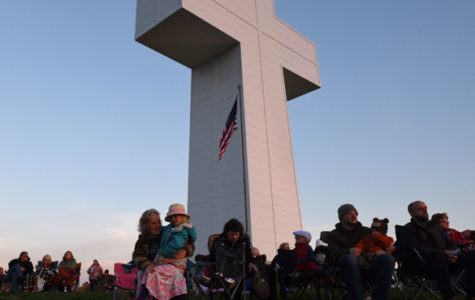 "Nancy Grover, of Lick Creek, sits with her 6-year-old granddaughter, Elliot Cox, March 27 during the 80th annual Easter Sunrise Service at Bald Knob Cross of Peace in Alto Pass. ""I thought the service was inspirational,"" Grover said. – March 27, 2016, Alto Pass, Ill."