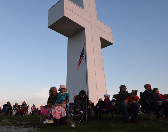 """Nancy Grover, of Lick Creek, sits with her 6-year-old granddaughter, Elliot Cox, March 27 during the 80th annual Easter Sunrise Service at Bald Knob Cross of Peace in Alto Pass. """"I thought the service was inspirational,"""" Grover said.– March 27, 2016, Alto Pass, Ill."""