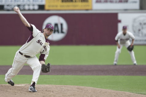 Redshirt junior pitcher Connor McFadden pitches during SIU's 5-4 win against Murray State. The game was called in the eight inning because of inclement weather.– March 30, 2016, Carbondale, Ill.