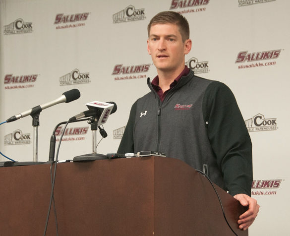 SIU football coach Nick Hill talks to reporters March 17 in Tedrick Auditorium. (DailyEgyptian.com file photo)