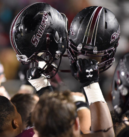 Saluki football players celebrate on the sidelines after their 38-31 overtime victory against Youngstown State University at the homecoming game Oct. 24, 2015,at Saluki Stadium. (DailyEgyptian.com file photo)