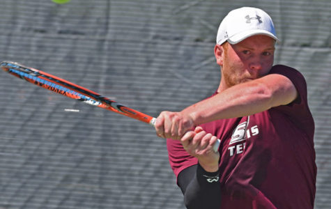"Senior Jonny Rigby sends the ball back to the opposite end of the court during Saluki tennis' 4-3 win against Illinois State on April 9 at University Courts. Rigby, the lone senior on the team, was recognized prior to the match during the team's senior day ceremony. Rigby's parents, Karen and David Rigby, traveled from England to see their son perform in his final home match. ""[Tennis] shaped his whole life,"" David said. ""He's always wanted to play."" Rigby's parents said he has been playing tennis since he was 4 years old. Rigby won his singles and doubles matches on the day. — April 9, 2016, Carbondale, Ill. (Jacob Wiegand 