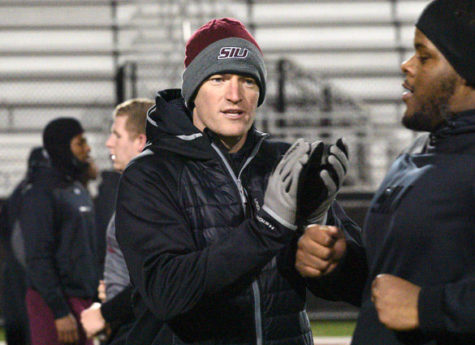 (DailyEgyptian.com file photo of SIU football Coach Nick Hill)