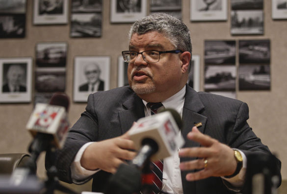 Interim Chancellor Brad Colwell speaks to reporters April 25, 2016, in Anthony Hall about a racist video that was posted on YouTube calling for lynchings on campus. (Daily Egyptian file photo)